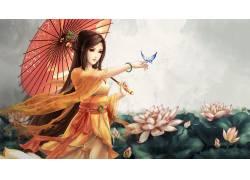 动漫,漫画,蝴蝶,雨伞,亚洲,动漫女孩,动漫2546图片