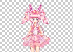 仙女Mangaka服装设计粉红色M,仙女PNG剪贴画时尚插画,花卉,虚构人