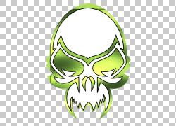 头骨,绿色头骨的PNG剪贴画叶,徽标,头,骷髅和交叉骨,虚构人物,roy图片