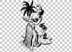 夏威夷Hula Tiki文化绘画舞蹈,草裙舞女孩PNG剪贴画白色,哺乳动物图片