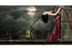 月亮与美女