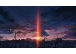 动漫,日落,每秒5厘米,动漫,景观41564图片