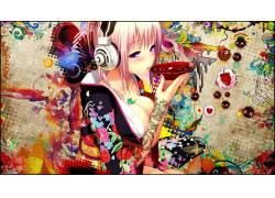 Snyp,超级Sonico,胸部,动漫女孩,华美,和服,人物,绘画,卡通,女孩,图片