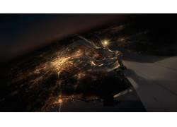 动漫,初音未来,鸟瞰图,飞机,动漫,飞机,灯火,市容104613图片