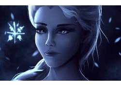 动漫,埃尔莎公主,幻想女孩,蓝色,迪士尼,幻想艺术107849图片