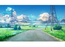 动漫,电力线路,云,蓝色,绿色,永恒的夏日,ArseniXC,动漫,景观,路,图片