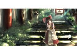 动漫,东方,Hakurei Reimu,红带,巫女124303图片
