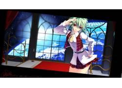 动漫,东方,动漫女孩,Kazami Yuuka,绿色的头发,红眼睛,行星,迷你图片