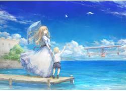 动漫女孩码头图片
