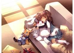 填充玩具动物动漫女孩图片