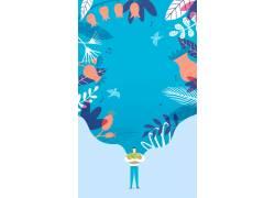 创意插画春日风景海报图片