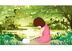 女孩和兔子插画图片