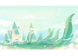 绿色创意插画图片