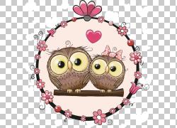 猫头鹰卡通,卡通动物材料情侣,两个棕色猫头鹰的PNG剪贴画爱,卡通图片