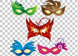 面具嘉年华化妆舞会,卡通舞蹈和狂欢节面具PNG剪贴画卡通人物,叶,图片