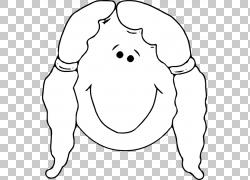 面对女孩笑脸,女孩脸大纲PNG剪贴画白色,儿童,脸,脊椎动物,单色,图片