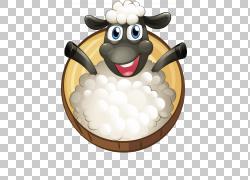 绵羊储蓄例证例证,逗人喜爱的动画片小的绵羊PNG clipart卡通人物图片