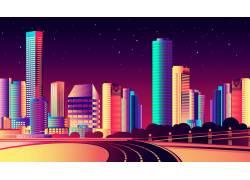 城市繁华建筑夜景图