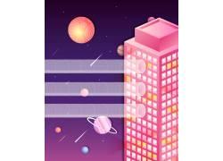 人物场景2D城市插画