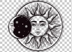 日食2017年8月21日月食绘图,手绘太阳和月亮,天体月亮和星星PNG剪图片