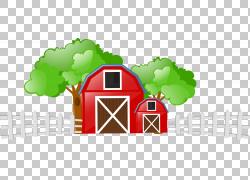 牛农场牲畜场,卡通农场,红色和棕色棚PNG剪贴画卡通人物,白色,文图片