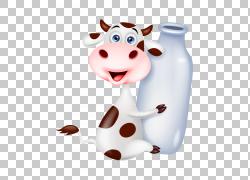 牛奶瓶股票摄影,可爱的手绘卡通牛奶瓶举行PNG剪贴画爱,水彩画,卡图片