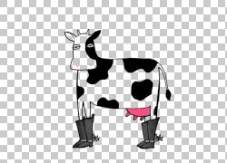 牛牛仔靴,卡通牛穿着靴子PNG剪贴画卡通人物,白色,哺乳动物,动物,图片