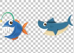 鲨鱼插图,蓝色鱼PNG剪贴画蓝色,动物,脊椎动物,生日快乐图像,图片
