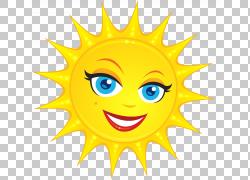 笑脸,透明可爱太阳,黄色太阳PNG剪贴画脸,卡通,虚构人物,图释,版图片