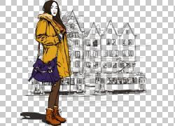 时尚女孩着色书卡通插图,肩包女孩PNG剪贴画时尚女孩,文本,配件,图片