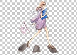 时尚插画绘图写生插画,女孩PNG剪贴画紫色,时尚女孩,摄影,人,时尚图片