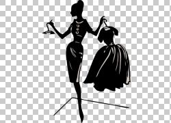时尚服装女装,服装设计师的PNG剪贴画时尚,单色,虚构人物,剪影,女图片