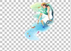 水彩绘画插图,水彩插图女孩放松河PNG剪贴画杂项,水彩叶子,时尚女图片