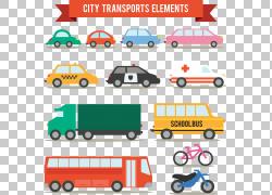 手绘卡通车辆,城市运输元素PNG剪贴画卡通人物,手,卡车,汽车,救护图片