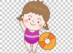 游泳内裤泳装卡通,游泳女孩PNG剪贴画孩子,食品,时尚女孩,手,蹒跚图片