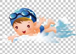 游泳池男孩版税,可爱卡通小人游泳PNG剪贴画卡通人物,儿童,手,摄