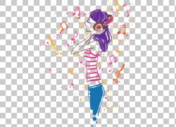 音乐,时尚音乐PNG剪贴画紫色,时尚女孩,文本,人,时尚插画,虚构人图片