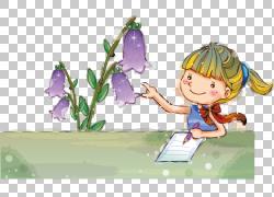 紫色装饰花女孩PNG clipart孩子,幼儿,电脑壁纸,虚构人物,卡通,花图片
