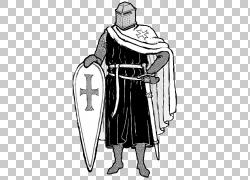 中世纪骑士圣殿骑士十字军绘图,中间骑士PNG剪贴画人民,单色,中世图片
