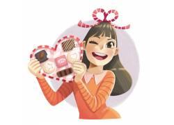 爱情女孩插画图片