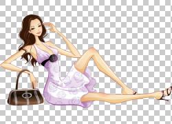 欧几里德妇女例证,逗人喜爱的女孩例证PNG clipart紫色,时尚女孩,图片