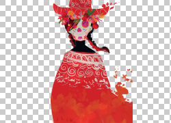 欧几里德数字艺术,骷髅女孩PNG剪贴画水彩画,png材料,画,时尚女孩图片