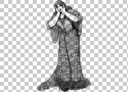 女人维多利亚时代,女人PNG剪贴画人,单色,时尚插画,虚构人物,女人图片