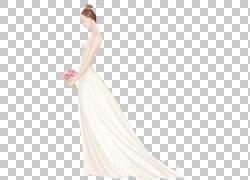 婚纱礼服单肩礼服礼服新娘,手绘新娘PNG剪贴画水彩画,绘画,摄影,图片