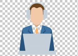 劳动业务培训机构信息技术,戴耳机的商务人士工作PNG剪贴画蓝色,图片