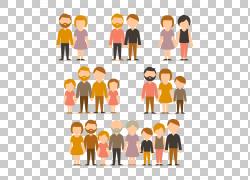 卡通家庭插图,家庭数字PNG剪贴画孩子,文本,橙色,人民,公共关系,图片
