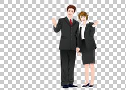 卡通西装漫画插图,穿着西装PNG剪贴画的商务人士业务女人,孩子,人图片