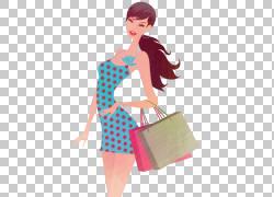 购物袋插图,都市妇女,女人拿着纸袋PNG剪贴画妇女配件,黑头发,假图片