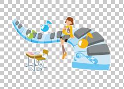 钢琴卡通音符,小女孩坐在钢琴键PNG剪贴画家具,时尚女孩,音乐作品图片