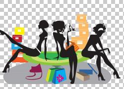 美女卡通剪影插画,购物女孩PNG剪贴画时尚女孩,时尚,公共关系,袋,图片